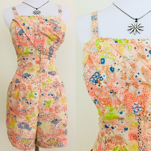 6362acbe7 Vintage Other | 60s Hawaiian Floral Beach Romper Playsuit | Poshmark